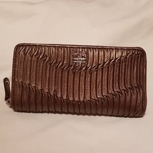 Coach Ruffled Zip Around Wallet